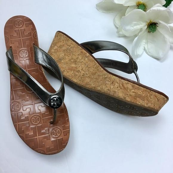 2368d4e865d3 TORY BURCH Silver Thora Cork Wedge Sandal Size 8.5.  M 5b743e9c7386bcf22b9c372e